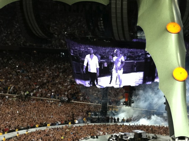 U2 makes their entrance on the big screen.
